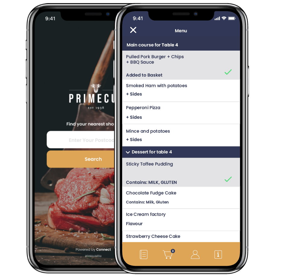 Connect table ordering app screen